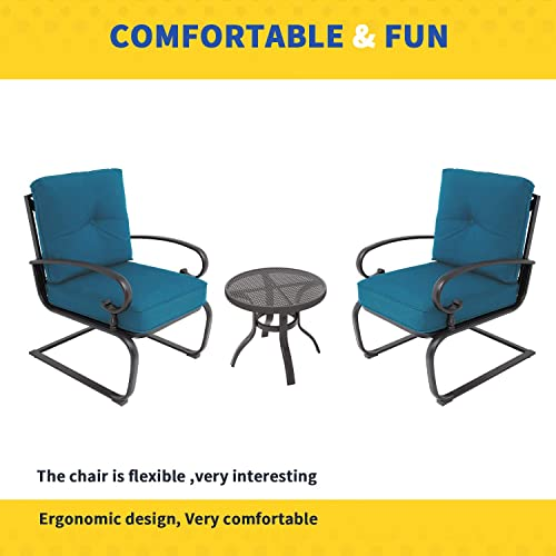 Incbruce Outdoor Indoor 3Pcs Patio Bistro Set Springs Motion Chairs and Bistro Round Table Set, Wrought Iron Conversation Set with Peacock Blue Cushions