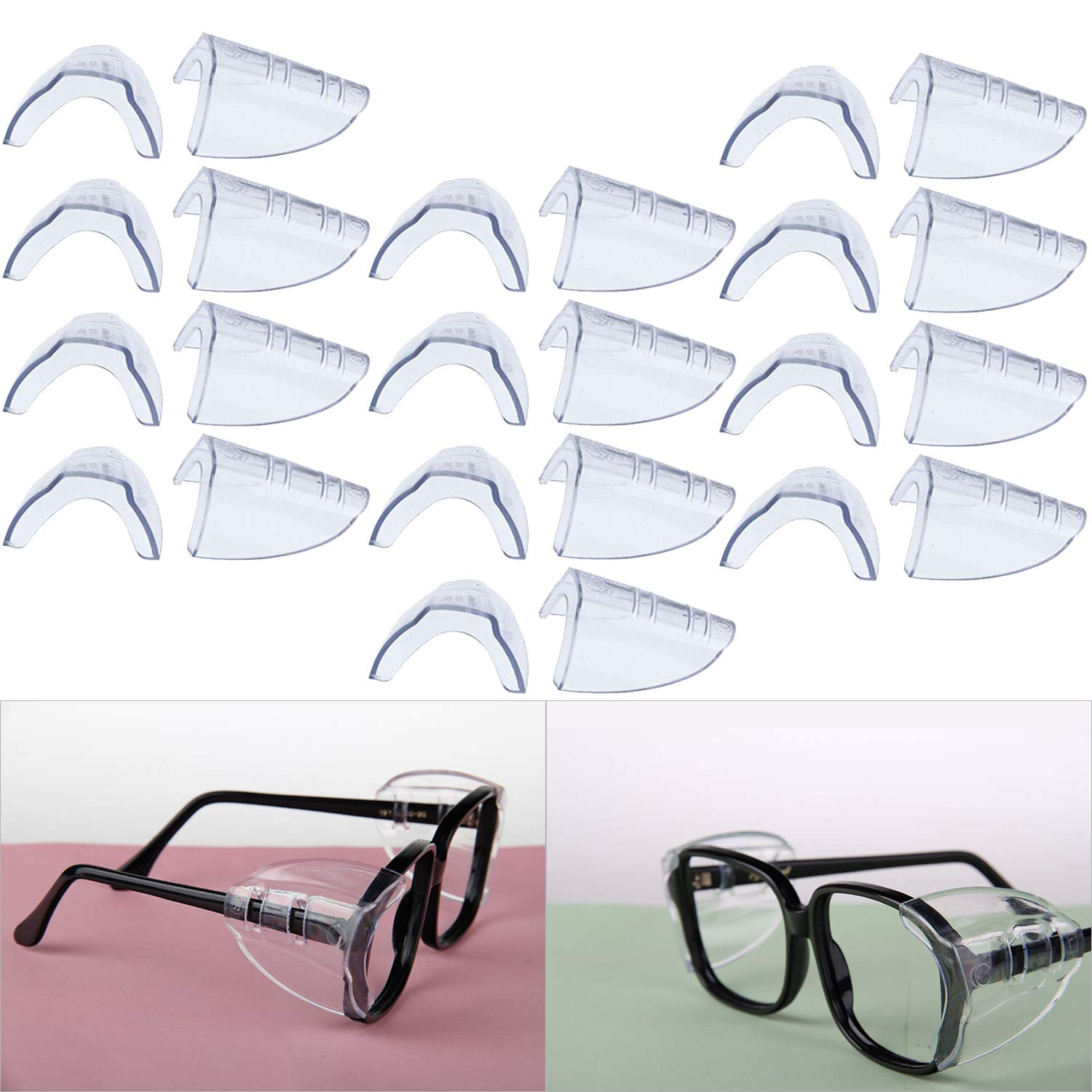 Hub's Gadget 12 Pairs Safety Eye Glasses Side Shields, Slip On Clear Side Shield for Safety Glasses- Fits Small to Medium Eyeglasses by Hub's Gadget (Image #1)