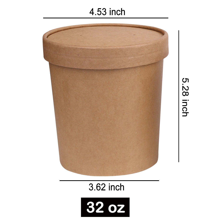 100 x Tazas de sopa de contenedores de papel Kraft resistente en 8oz 12oz 16oz 26oz 32oz