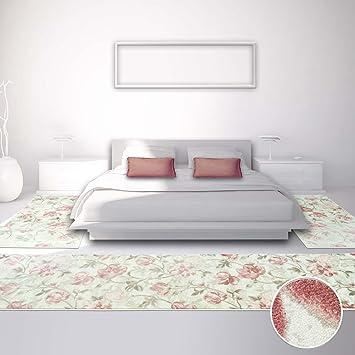 Carpet City Bettumrandung Für Schlafzimmer, Flachflor In Pastellrosa, Creme  Mit Klassischen Blumen Muster