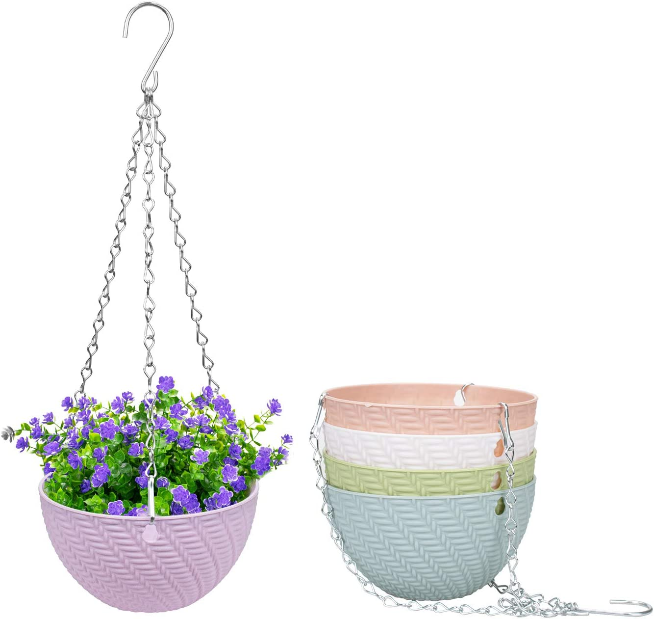 Foraineam 5 Pack Mini Hanging Planters Garden Self-Watering Flower Plant Pot Container Succulent Planter Pots with Hanging Chain