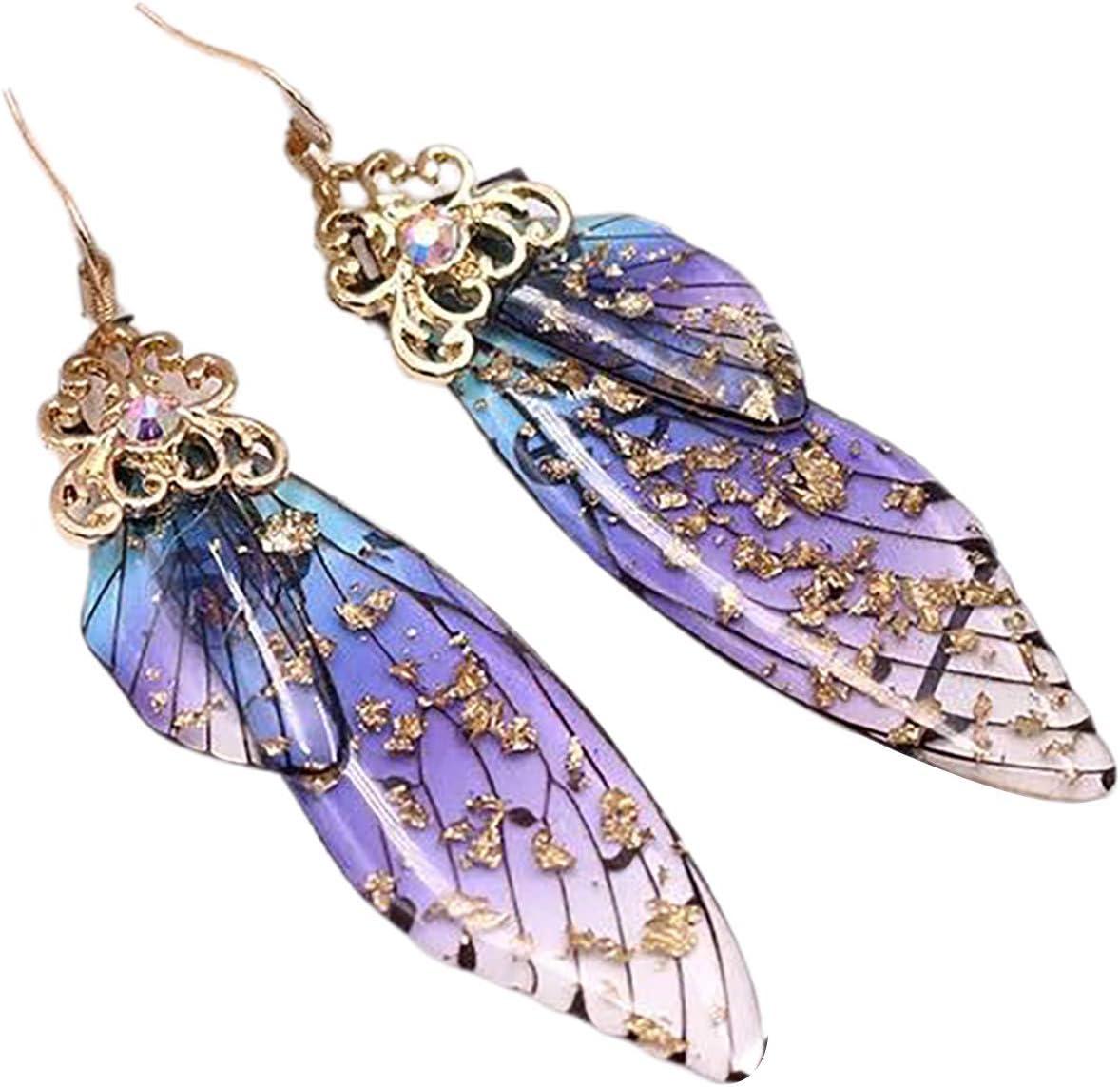 Pendientes para mujer, pendientes de moda con alas de mariposa, color degradado, diamantes de imitación, gancho para la oreja - #3