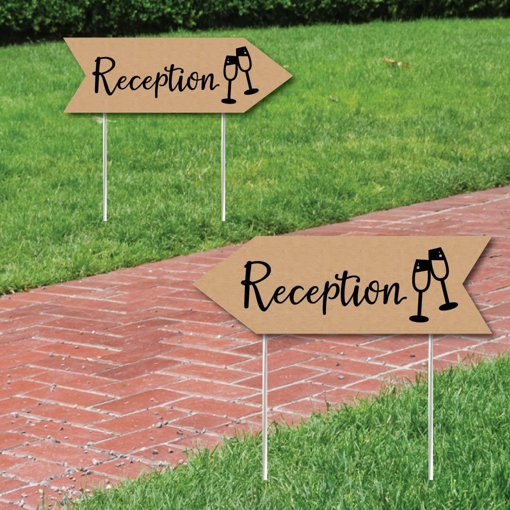 Rustic Wedding Reception Signs - Wedding Sign Arrow - Double Sided Directional Yard Signs - Set of 2 Reception Signs