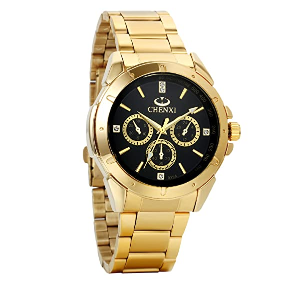 Avaner Mens Luxury Gold Tone Stainless Steel Quartz Analog Business Cuff Watch Casual Dress Wrist Watch