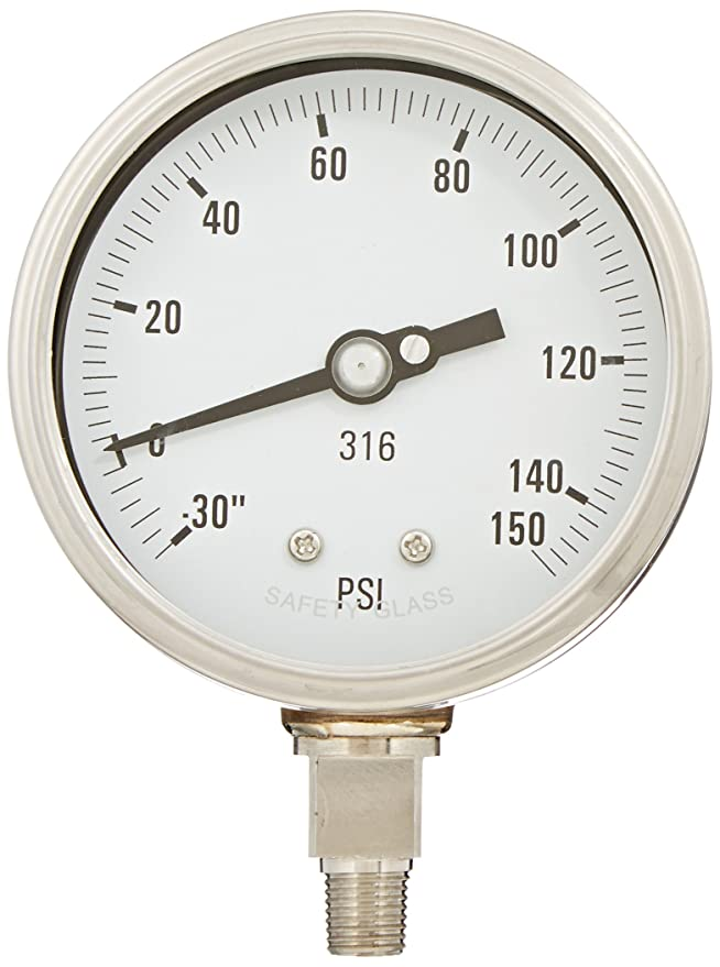 0//2000 psi Range 1//2 Male NPT Connection Size and Laminated Safety Glass Lens 1//2 Male NPT Connection Size PIC Gauge 4001-2LO 4 Dial Bottom Mount Dry Process Pressure Gauge with a Stainless Steel Case and Internals Removable Stainless Steel Bezel