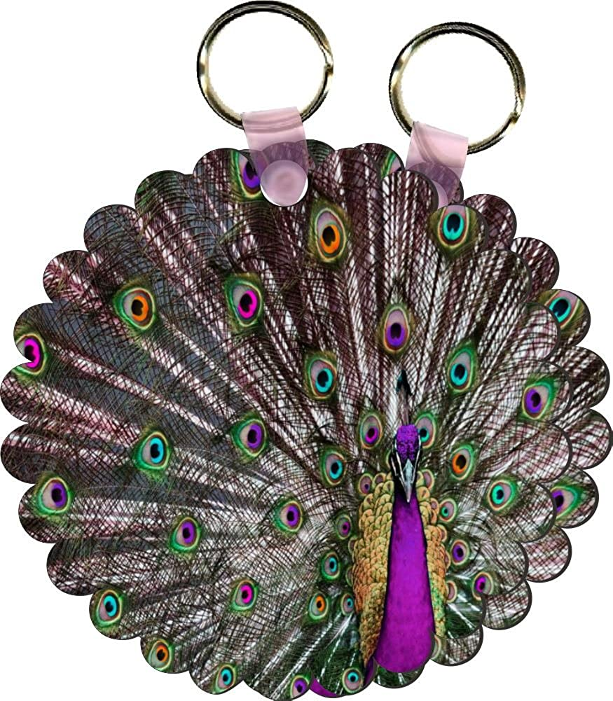 Rikki Knight ACCESSORY ユニセックスアダルト B00LIMX6QY Psychedelic Purple Peacock Set of 2