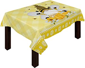 Cotton Linen Tablecloth, Summer Bee Gnome Spring Floral Yellow Honey Buffalo Plaid Picnic Cloth for Outdoor/Kitchen/Dinner/Coffee table/Wedding/Theme Activity+Table-Dress 60'' x 84'', Rectangle