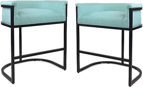 Christopher Knight Home Best Modern Wide Bucket Upholstered Barstool, Light Blue and Black Set of 2
