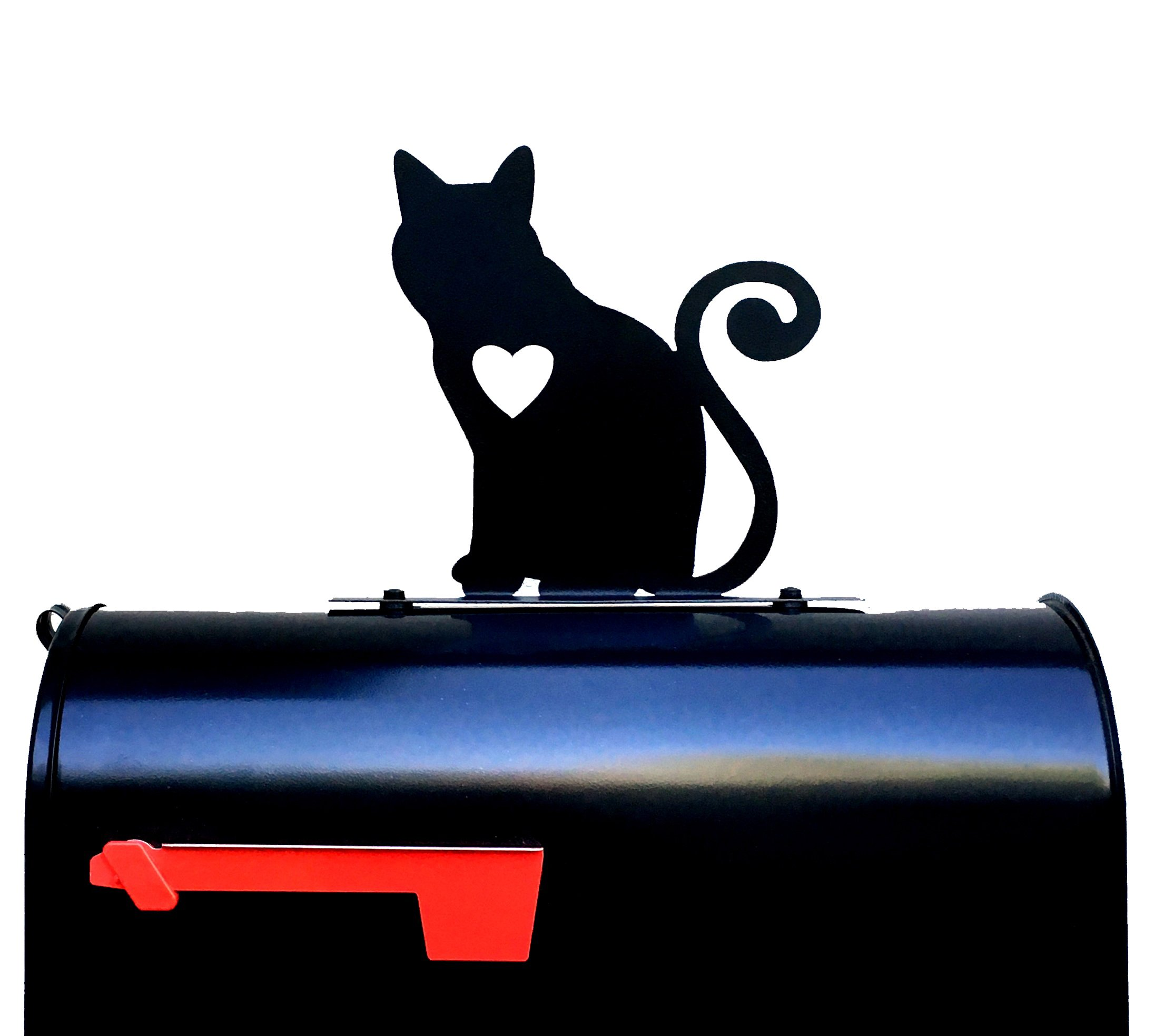 Cat with Heart Silhouette Mailbox Topper/Sign by NewnanMetalWorks