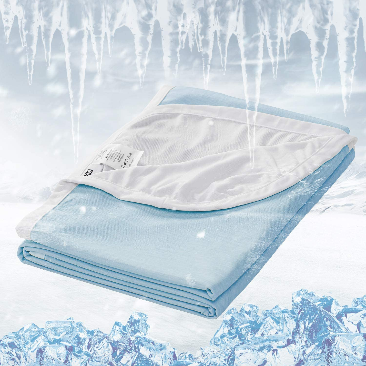 """EXQ Home Cooling Blanket Cooling Blankets for Sleeping Summer Blanket for Hot Sleepers,Breathable Light Summer Blanket Q-Max>0.4 Cooling Fiber Blue Bed Blanket (60""""x80"""",Twin Size)"""