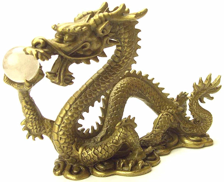 風水の皇帝龍五本指の願い龍(銅製) 金針水晶ルチル付き 金運強烈 B002KAP7WY
