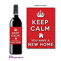 Keep Calm New Home, House Warming Wine bottle label Celebration Gift for Women and Men.