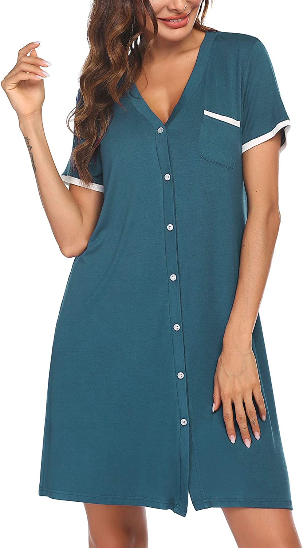 Cute Sleepwear Button Down Sleep Shirt Dress Ekouaer Short Sleeve Nightgowns for Women