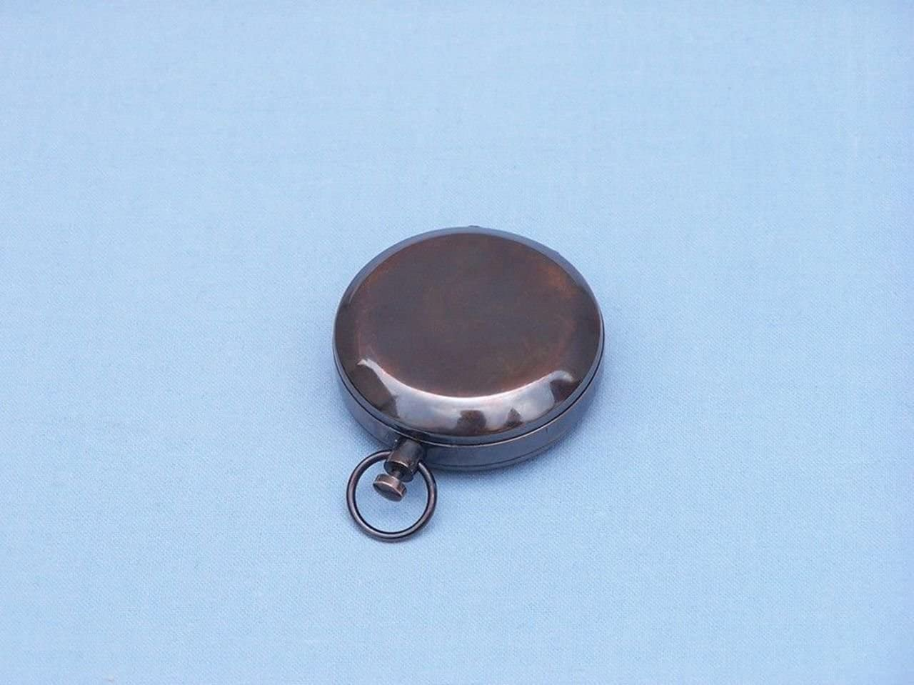 2 Hampton Nautical 3xglass-101 Antique Copper Scouts Push Button Compass 2 Nautical Home Decoration