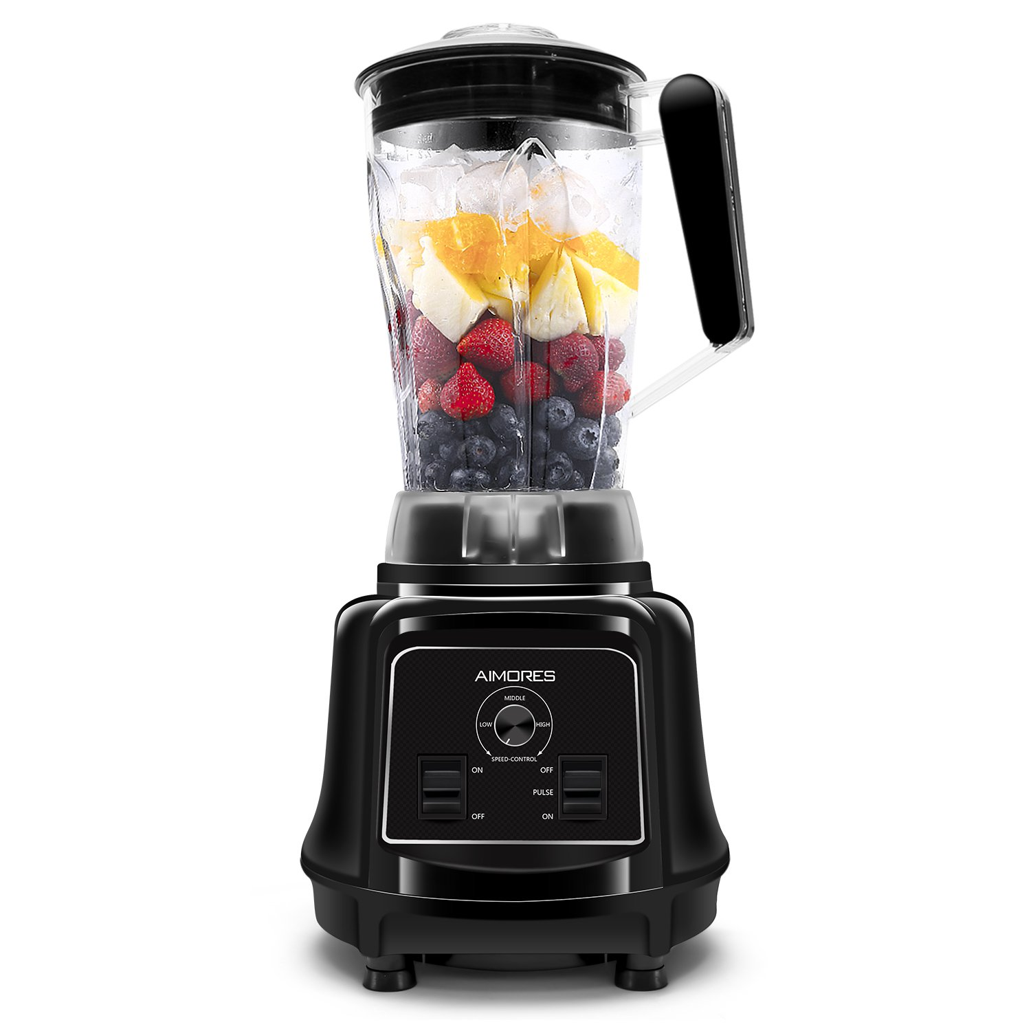 Aimores Professional Blender for Shakes and Smoothies, Food Processor Combo, Heavy Duty Juice Blender, 75oz Pitcher, 28,000RPM, Variable Speed Control, with Tamper & Recipe, ETL/FDA Certified (Black)