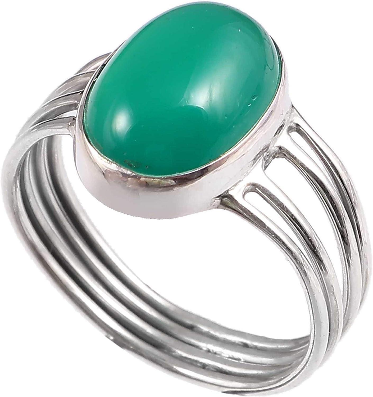 Anillo de plata de ley 925 para mujer|anillo de piedra preciosa natural Ónix verde|Banda de boda para las mujeres|Piedras preciosas anillo, anillo de compromiso|Tamaño del anillo 19.5 (R-18)