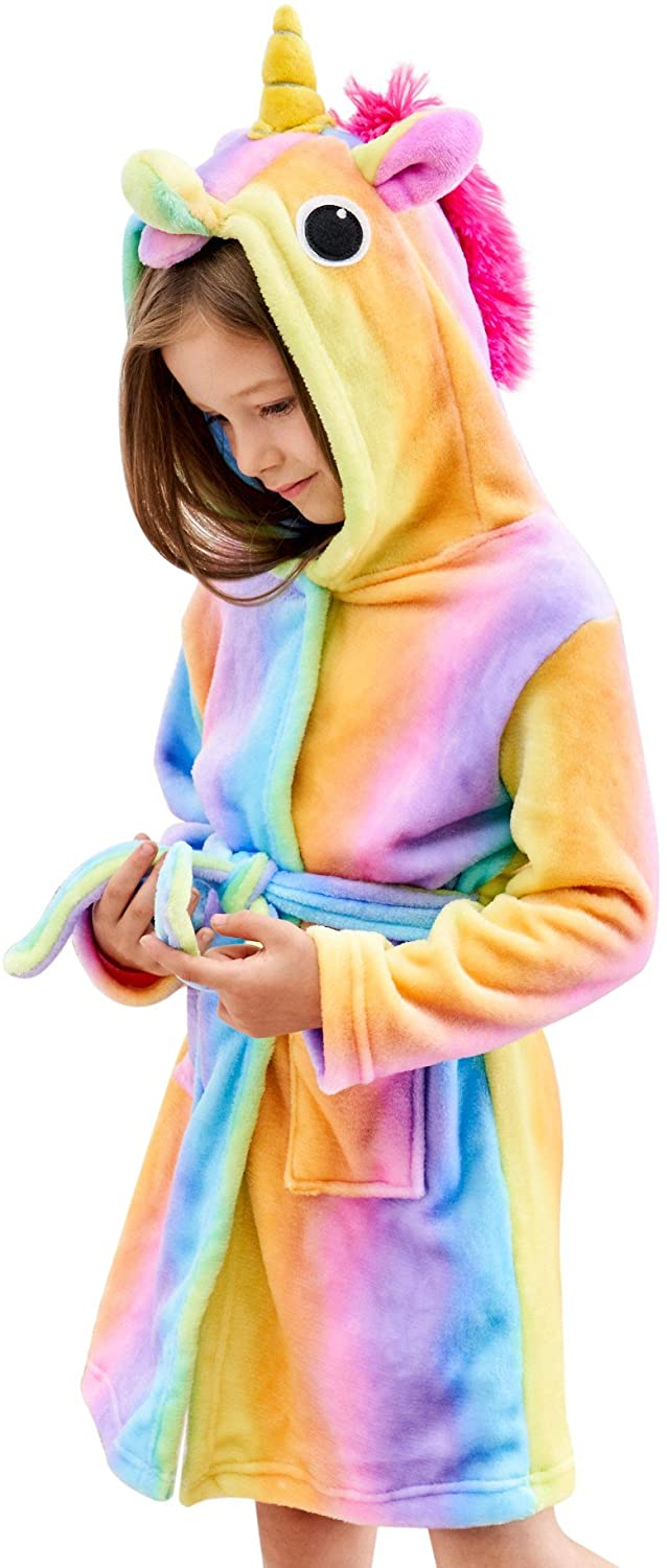 Doctor Unicorn Soft Unicorn Hooded Bathrobe Sleepwear - Unicorn Gifts for Girls: Clothing