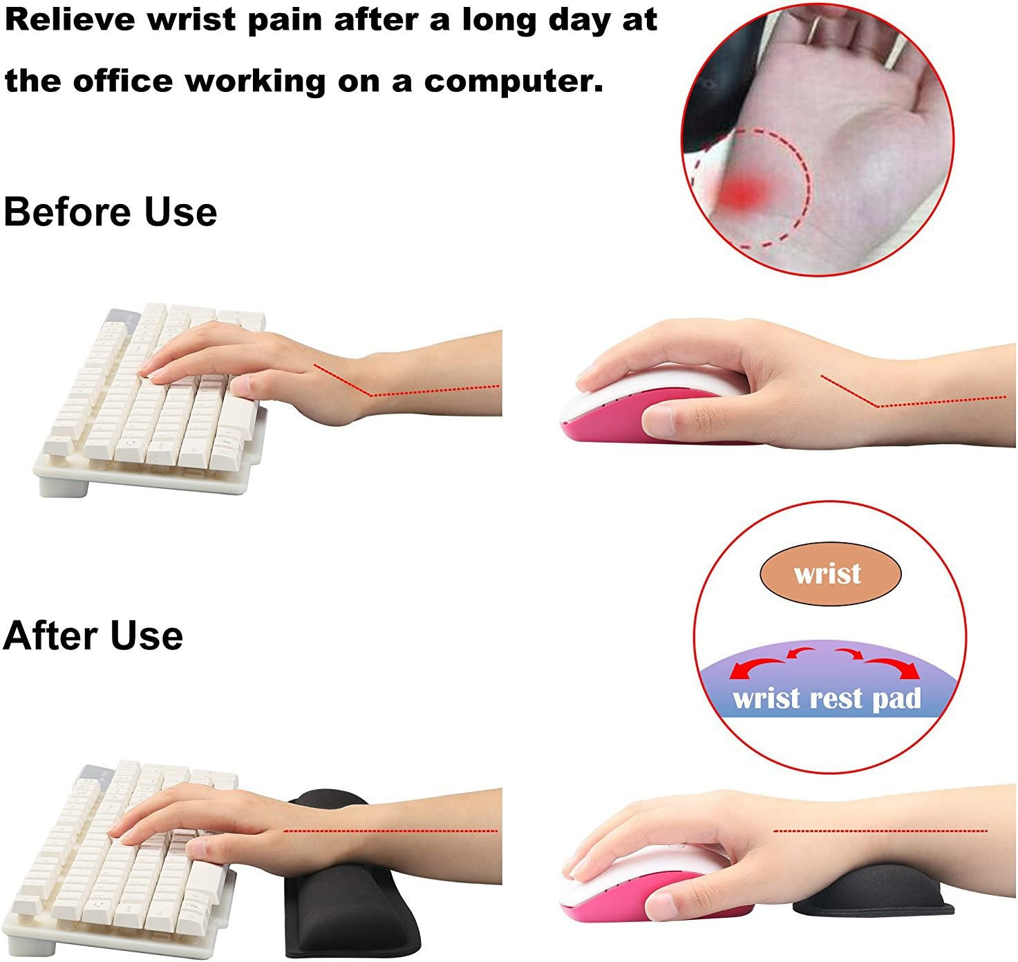 Durable /& Comfortable fosa Gaming Wrist Pad//Rest Memory Foam Keyboard Wrist Carpal Rest Pad Home Computer Laptop Mac for Easy Typing /& Pain Relief Ergonomic Support Office