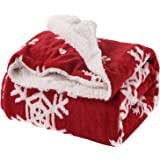 Bedsure Christmas Blanket Decoration Snowflake Throw Blanket Ideas for Kids for Dad and Mom for Women and Men Red and White 50x60 Throw Size Soft and Warm Home Decor