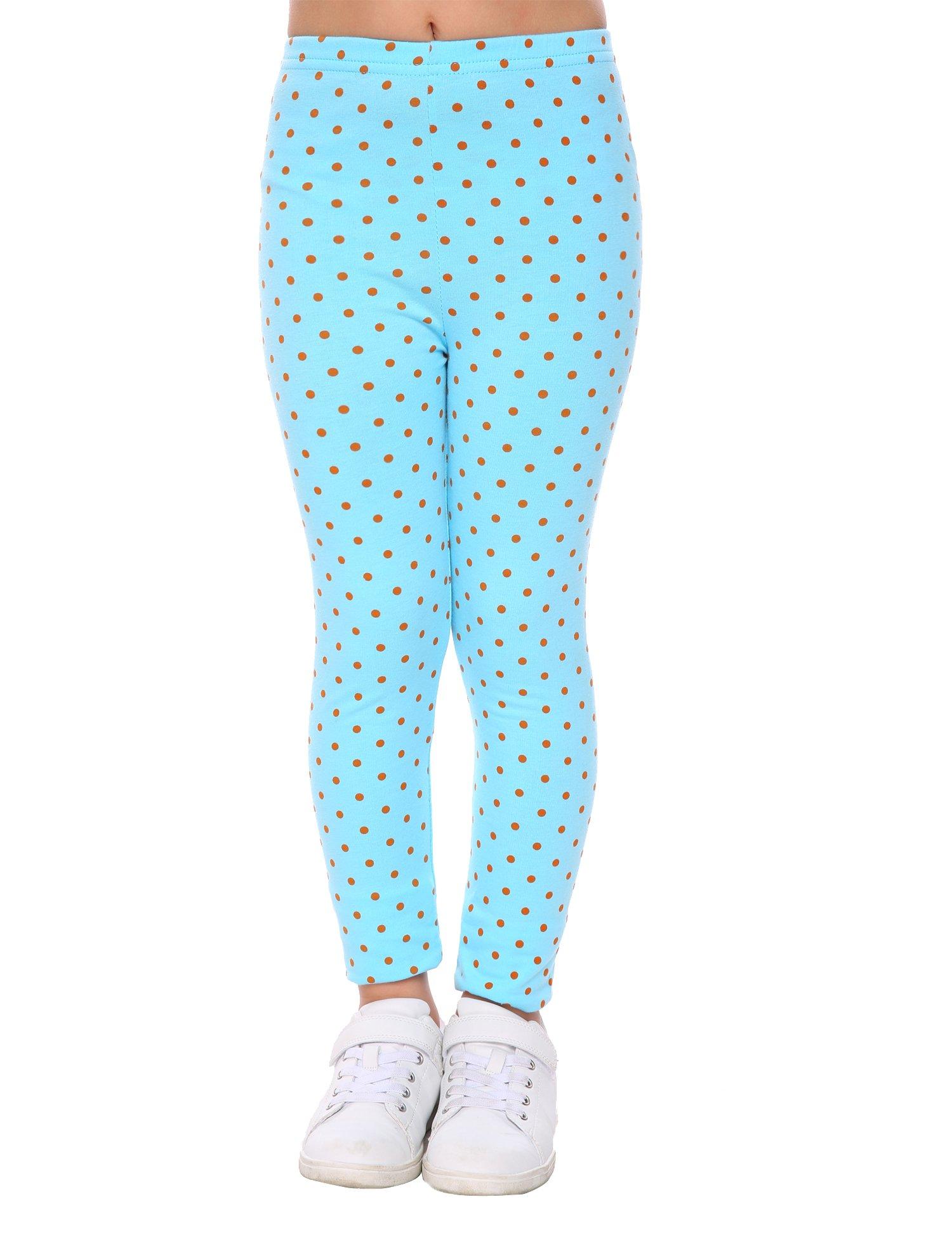 Arshiner Kids Toddle Girls Polka Dot Elastic Waist Cotton Pants Autumn Leggings,Sky Blue,110(4-5years old)