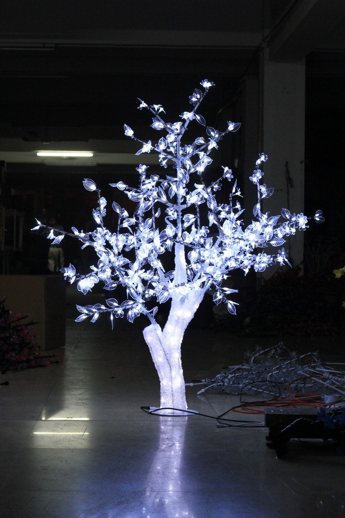 Christmas New year brithday holiday Home party tree 1.5M 5ft height Crystal Cherry Blossom Tree White Leafs waterproof