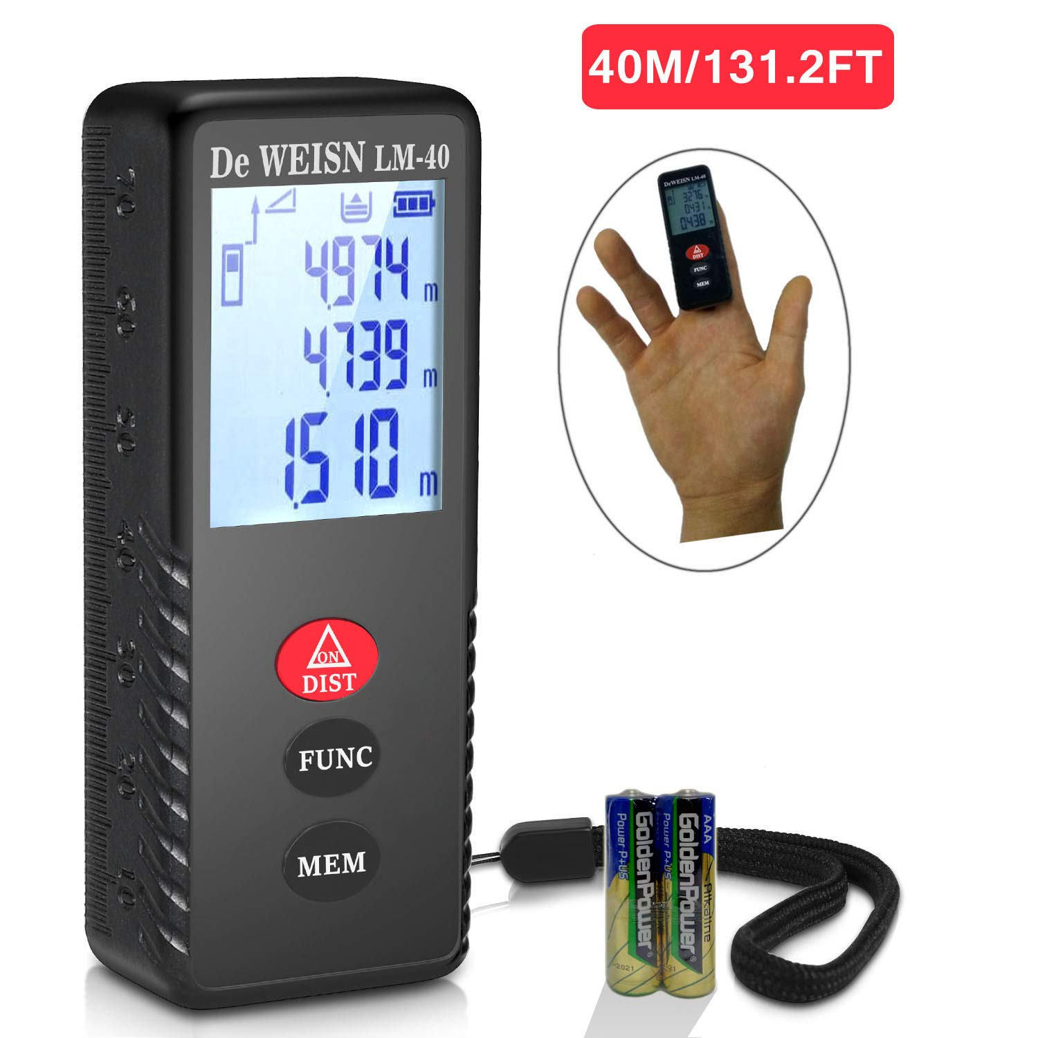 Laser Measure, 131ft/40m Mini Laser distance meter with IP40 Splash/Dust Proof, Backlit LCD, Distance Measuring Device Support Measuring Area, Add/Subtract, Volume Calculation, Pythagorean Mode