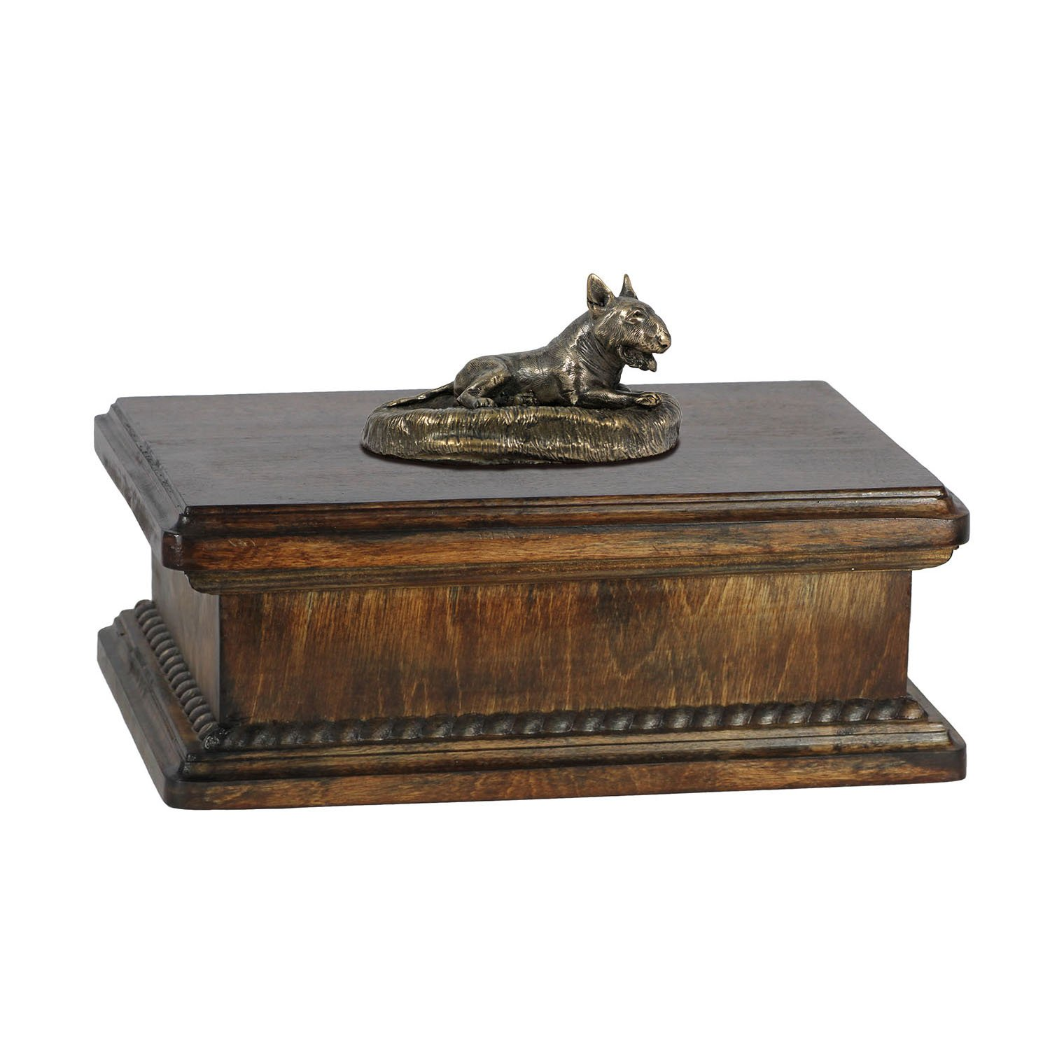 Bull Terrier (lying happy), memorial, urn for dog's ashes, with dog statue, exclusive, ArtDog