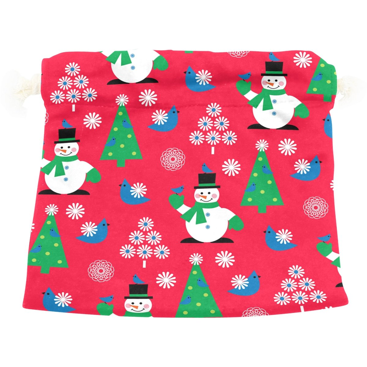 Dragon Sword Christmas Snowman Flower Bird Red Gift Bags Jewelry Drawstring Pouches for Wedding Party, 5.5x5.5 Inch