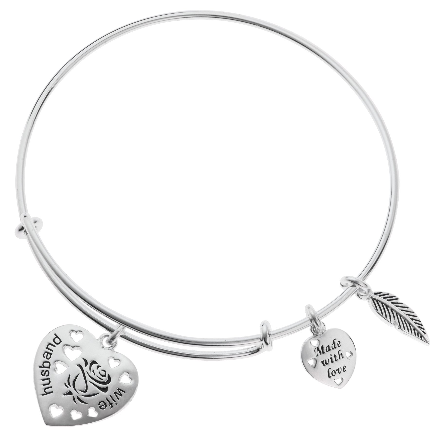 925 Sterling Silver Rose Husband & Wife Heart Feather Charm Adjustable Wire Bangle Bracelet