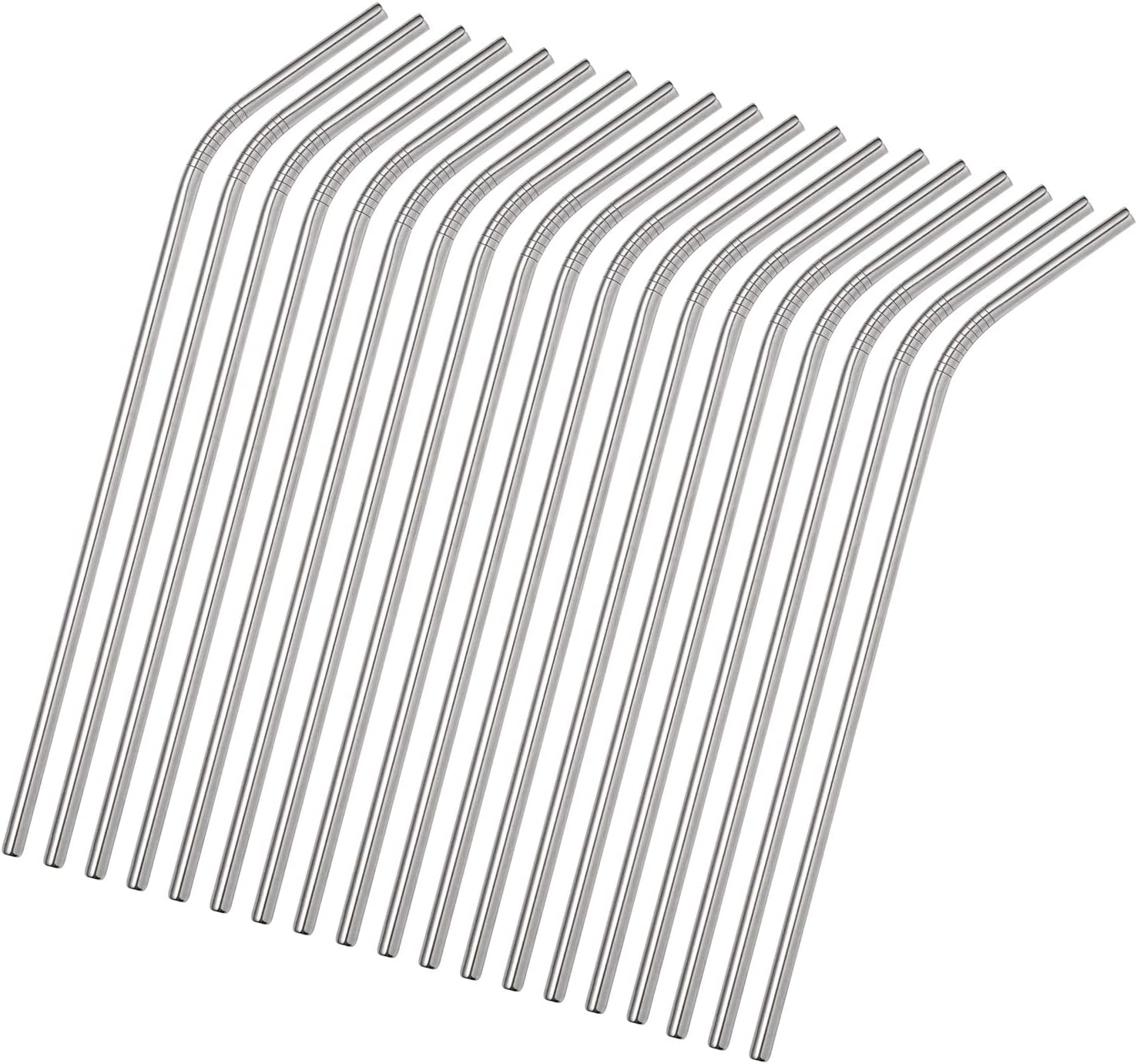 ColorStraw 50PCS Reusable Metal Straws Bulk.8.5 Inch Stainless Steel Drinking Straws in Bulk For Wholesale.Curved Straight Straws for 20oz Tumblers Yeti (50Pcs All Bent Silver-8.5