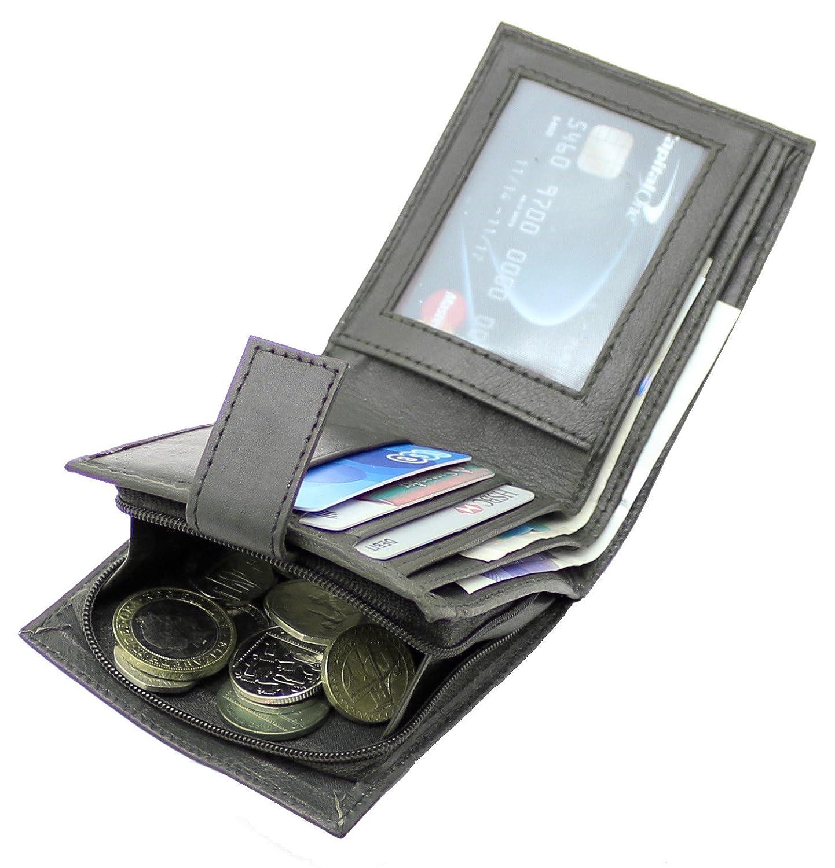 RAS® Cuero Genuino Marrón Suave De Los Hombres Billetera De Bloqueo RFID Tarjeta De Crédito Bolsillo Para Billetes Y Monedero Con Cremallera #44: Amazon.es: ...