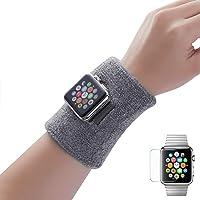 Dee Plus Poignet éponge 2 Pièces Coton Athlétique Sport Bracelets pour 40mm/44mm Apple Watch iWatch Series 4 pour Sweatbands Absorbants pour Le Football Basketball, Athlétique avec Protecteur d'écran