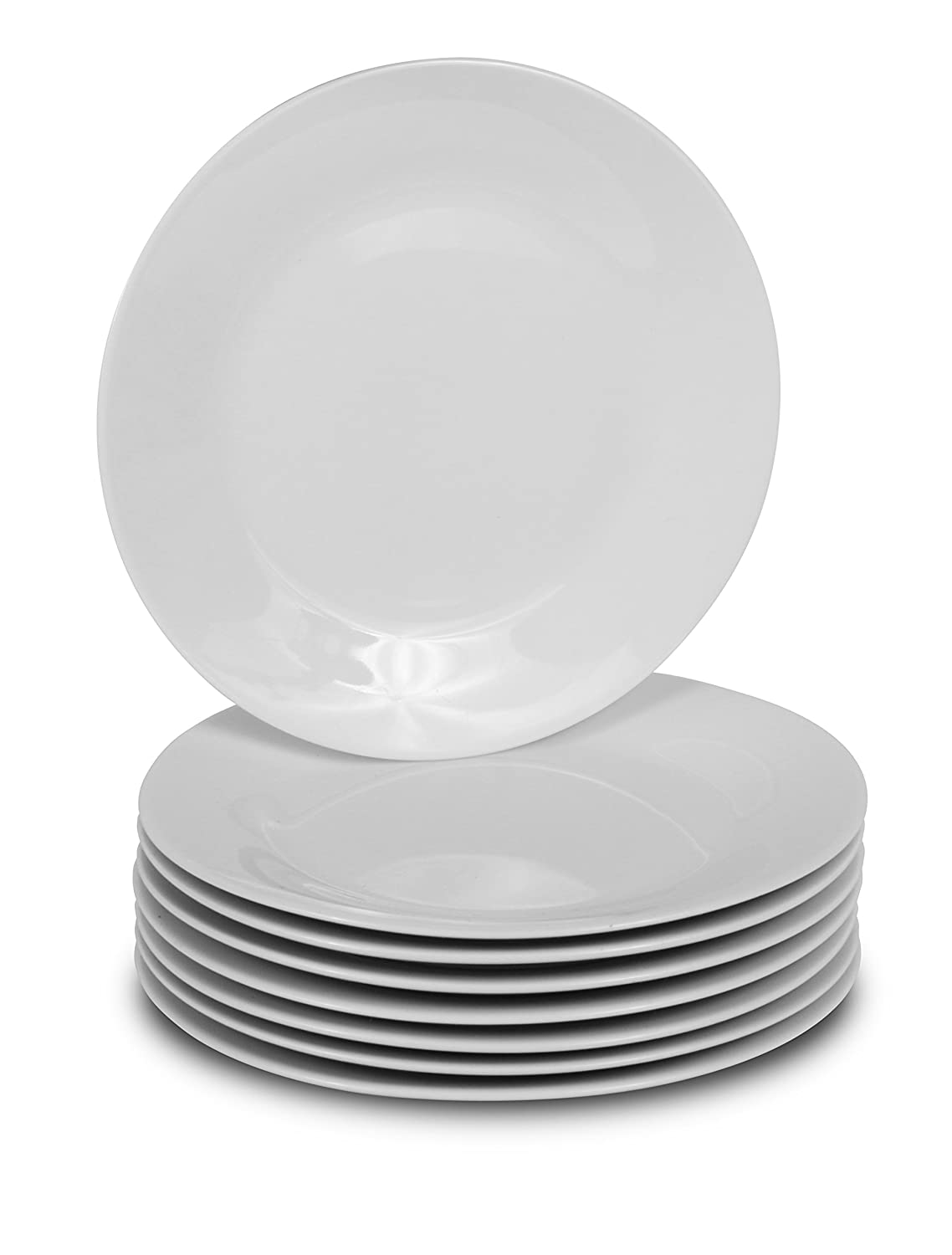 Klikel 8 White Dinner Plates | Porcelain Round Dinnerware | 10.5-inch Classic Solid Coupe Style Plate Set