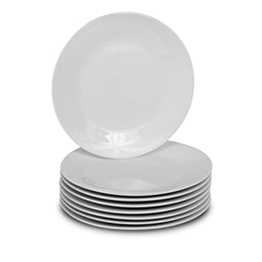 Klikel 8 White Round Dinner Plates - 10.5-inch Classic Solid Coupe Style Porcelain Dinnerware