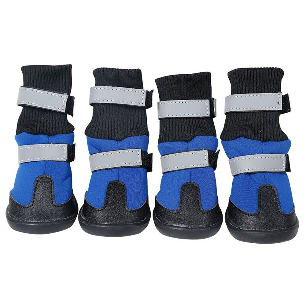 Medium to large Dog Boots Pet Snow Long Boots Reflecting All Wheather Waterproof Wearable Shoes (M, Blue)