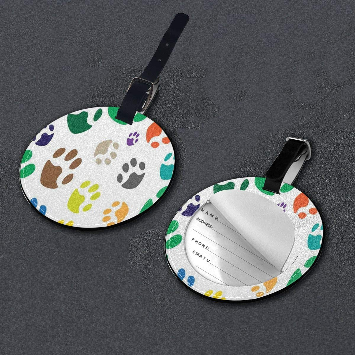 Round Luggage Tags Bright Colored Cat Paw Children PU Leather Suitcase Labels Bag
