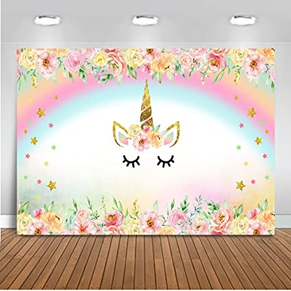 Amazon Com Mehofoto Unicorn Themed Backdrop Rainbow Flower Unicorn