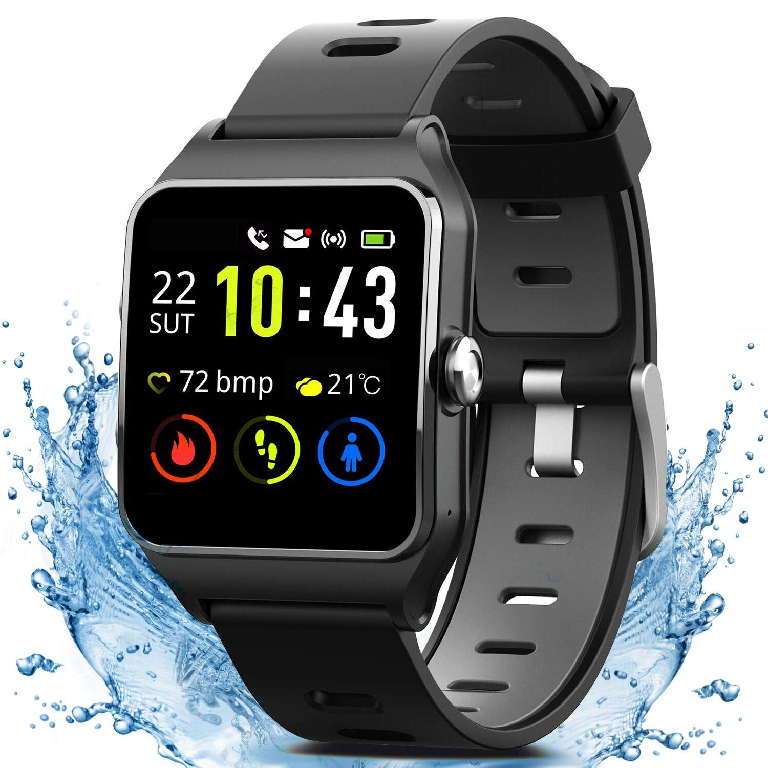 MorePro GPS Smart Watch with 17 Sports Mode Cycling Running Watches IP68 Swimming Waterproof Fitness Tracker, Heart Rate Monitor Smartwatch for Women Men Compatible with iPhone & Android by MorePro