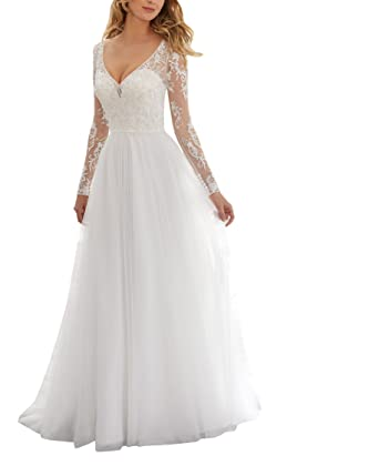 c7b6c4f0 Fannydress Sheer Long Sleeve Bridal Dresses Wedding Dresses Lace Beaded Sequins  V-Neck Backless Wedding Gowns 2019 at Amazon Women's Clothing store: