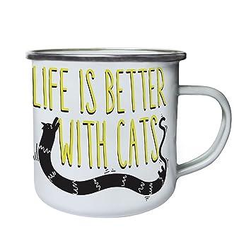 La vida es mejor con los gatos pata de gato Retro, lata, taza del esmalte 10oz/280ml cc241e: Amazon.es: Hogar