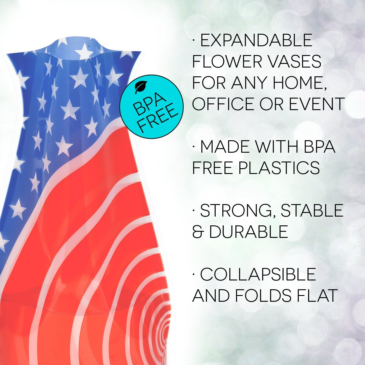Durable Weddings and Celebrations of All Kinds 66129 Patios RedWhiteYou MyVaz Great for Parties NOT GLASS MODGY Collapsible /& Expandable Vase Safe Pools