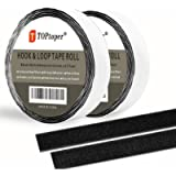 41 Feet Sticky Back Hook and Loop Fasteners by TOPtoper Self Adhesive Hook and Loop Tape Roll 0.8 Inch Wide (Black 0…