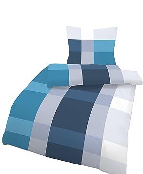 Träumschön Bettwäsche 155x 220 Biber Reißverschluss Blau