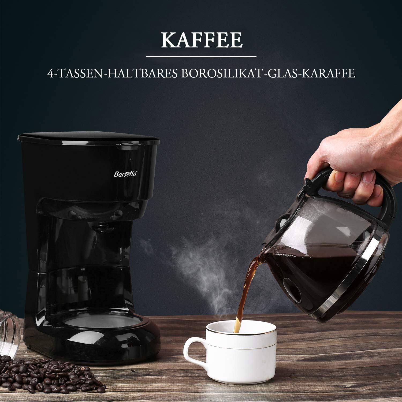 Barsetto Kaffeemaschine 6 Tasse Kaffeemaschine Leise Tropfen Kaffeemaschine mit Kaffeekanne und Filter f/ür Zuhause B/üro