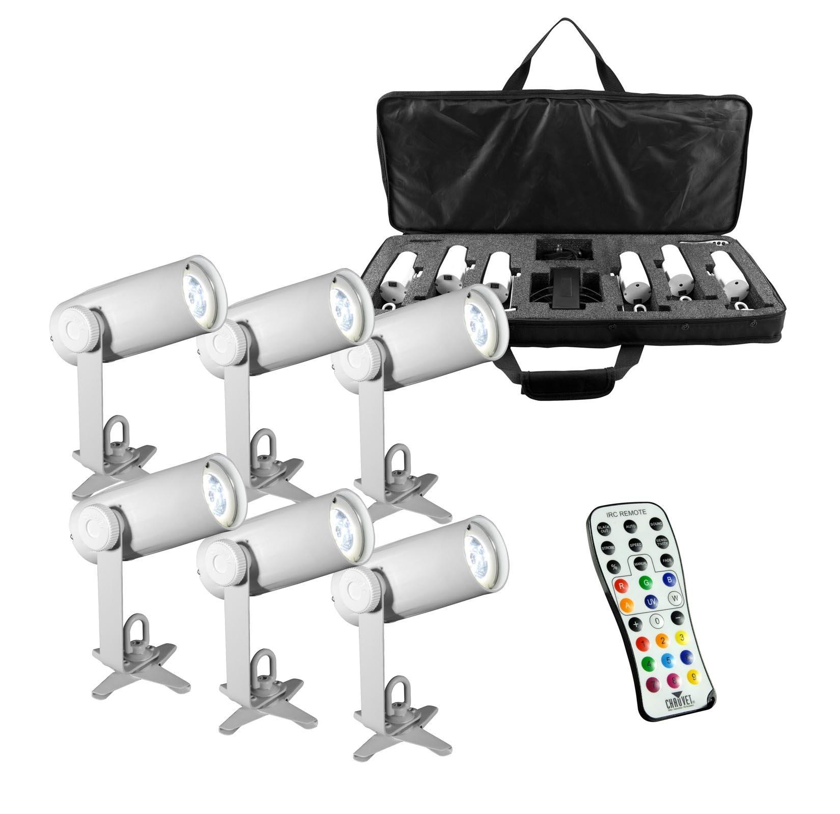 CHAUVET DJ EZpin IRC LED Pin Spot Light 6-Pack w/IRC-6 Remote & VIP Gear Bag by CHAUVET DJ