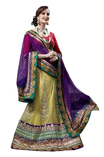Anvi Creations Bridal Embroidered Net Lehenga Choli (Purple Lemon Yellow_Free Size) Ethnic Wear at amazon