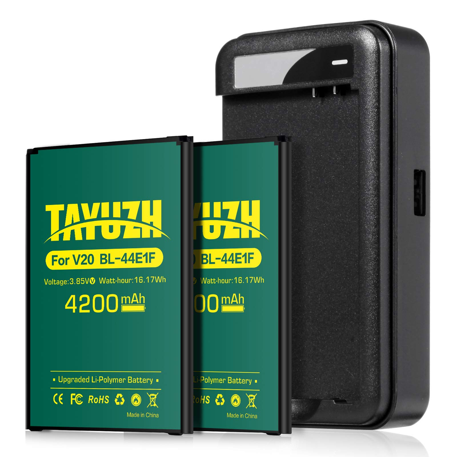 LG V20 Battery, [Upgraded] TAYUZH 2X 4200mAh Replacement Li-Polymer Battery BL-44E1F with Spare Charger for LG V20 H910 H918 LS997 US996 VS995 | V20 Spare Battery [24 Month Warranty] by TAYUZH