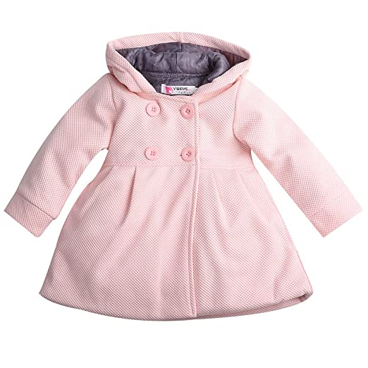 b1ca0ca4a76d Amazon.com  Baby Toddler Girls Fall Winter Trench Coat Wind Hooded Jacket  Kids Outerwear  Clothing