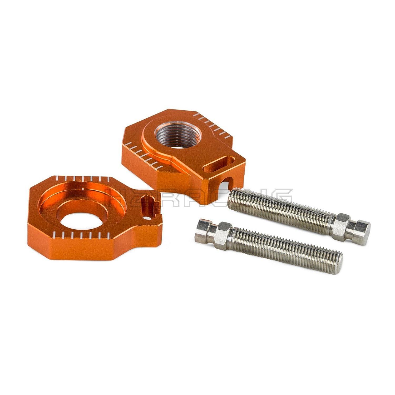 H2Racing Orange Rear Axle Blocks Chain Adjuster for 85SX 2003-2014, 125-450SX/SX-F/XC/XC-F 2000-2012, 125-530EXC/EXC-F/XC-W/XCF-W 2000-2018