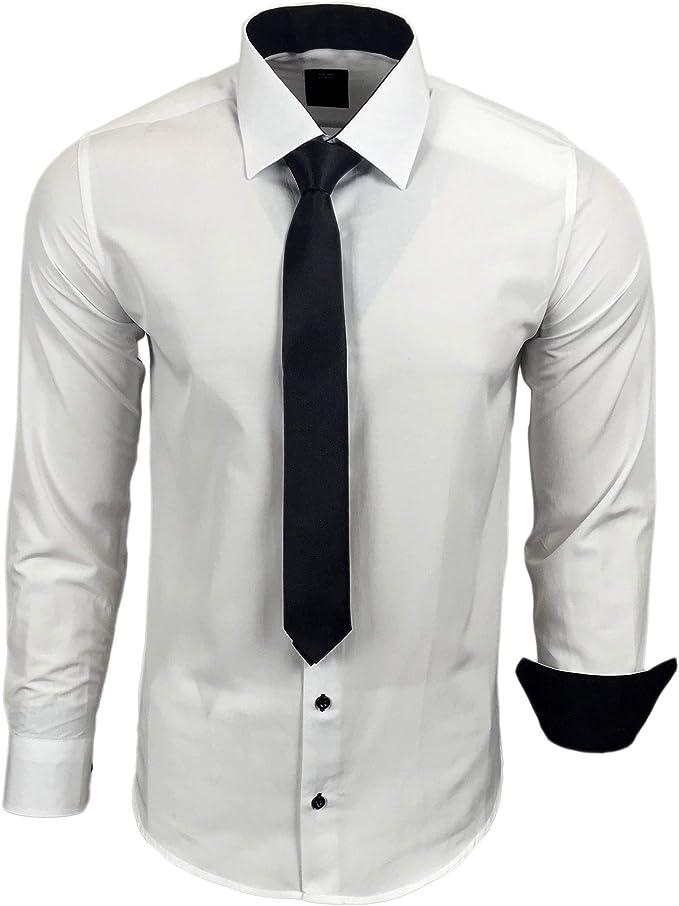 Camisa de la marca Rusty Neal R-44-KR, con corbata. Ideal para negocios, bodas y tiempo libre. Ajustada: Amazon.es: Ropa y accesorios